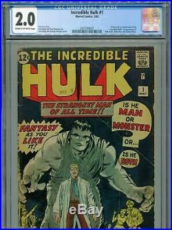 1962 Marvel The Incredible Hulk #1 1st Appearance Hulk Cgc 2.0 Under Graded