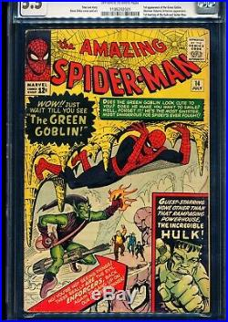 AMAZING SPIDER-MAN #14 CGC 5.5 1st Green Goblin! 1st meeting with the Hulk