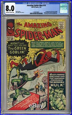 AMAZING SPIDER-MAN #14 CGC VF 8.0 1st GREEN GOBLIN 1964 INCREDIBLE HULK