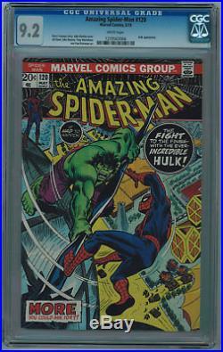 Amazing Spider-man #120 Cgc 9.2 Spidey Vs Hulk Cover White Pgs 1973