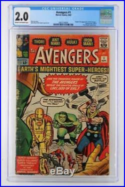 Avengers #1 CGC 2.0 GD Marvel 1963 1st App & ORIGIN (Iron Man Hulk Thor)