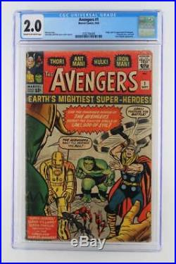 Avengers #1 CGC 2.0 GD -Marvel 1963- 1st App & ORIGIN (Iron Man Hulk Thor)