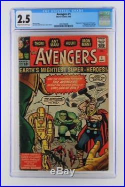 Avengers #1 CGC 2.5 GD+ -Marvel 1963- 1st App & ORIGIN (Iron Man Hulk Thor)