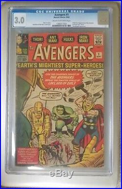 Avengers #1 CGC 3.0 Marvel 1963 1st App & ORIGIN (Iron Man Hulk Thor) Stan Lee