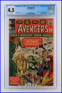 Avengers #1 CGC 4.5 VG+ -Marvel 1963- 1st App & ORIGIN (Iron Man Hulk Thor)