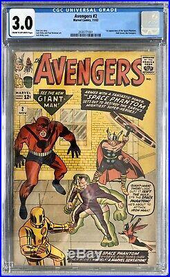 Avengers 2 CGC 3.0 Marvel Comics (1963) 1st Space Phantom & Hulk Leaves Team