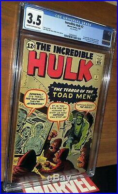 CGC 3.5 Incredible Hulk # 2. First 1st Appearance Green Hulk & Toad Men. (1962)