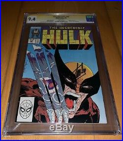 CGC SS 9.4 Incredible Hulk #340 Wolverine Classic Cover signed by Stan Lee White