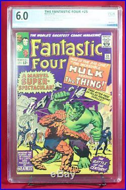 FANTASTIC FOUR #25 (Marvel 1964) PGX (not CGC) 6.0 FN 1st THNG vs. HULK battle