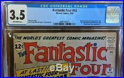 Fantastic Four 12 CGC 3.5! 1st Hulk/Marvel crossover! 1962 unpressed! MCU soon