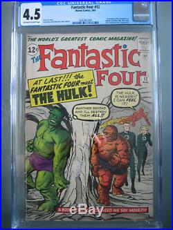 Fantastic Four #12 CGC 4.5 1963 1st Hulk vs Thing Battle