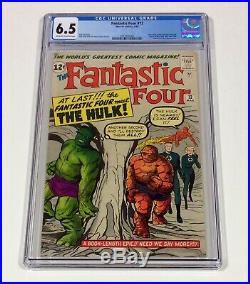 Fantastic Four #12 CGC 6.5 BIG KEY (1st FF & Hulk meet, early Hulk!) 1963 Marvel