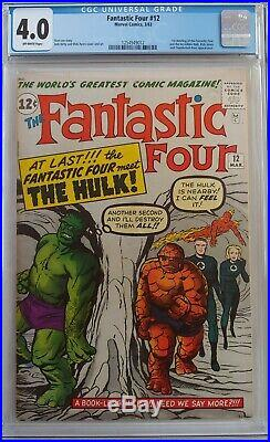 Fantastic Four #12 Cgc 4.0 1st Meeting With Incredible Hulk Rick Jones