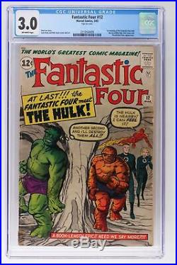Fantastic Four #12 Marvel 1963 CGC 3.0 1st meeting The Fantastic Four and Hulk