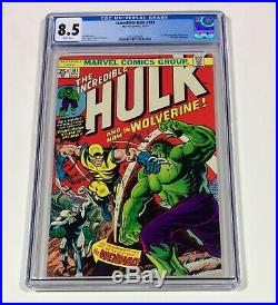 HULK #181 CGC 8.5 KEY WHITE Pages! BRIGHT COVER! (1st Wolverine!) 1974 Marvel