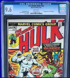 INCREDIBLE HULK #162 (1973) CGC 9.6 WHITE PGs Rare! 1ST APP OF WENDIGO