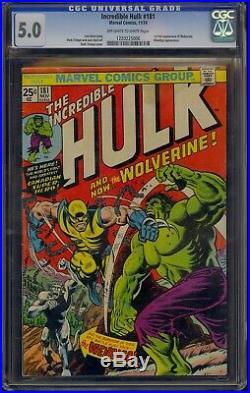 INCREDIBLE HULK #181 CGC 5.0 1974 1st FULL WOLVERINE APPEARANCE COMIC KINGS