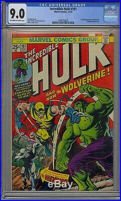 INCREDIBLE HULK #181 CGC 9.0 1ST WOLVERINE OWithWHITE PAGES