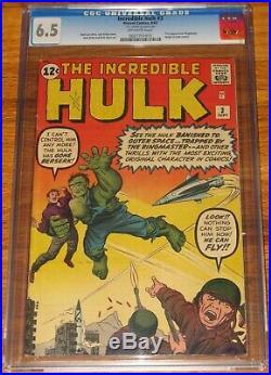 INCREDIBLE HULK #3 CGC 6.5 F+ OW Unrestored ORIGIN 1962 JACK KIRBY Marvel Comics