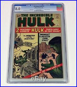Incredible HULK #4 CGC 8.0 KEY OWithW (Origin of Hulk retold) Nov. 1962 Marvel