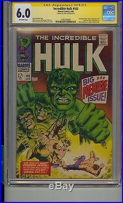 Incredible Hulk #102 Cgc 6.0 Ss Signed Stan Lee