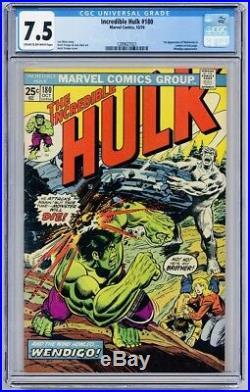 Incredible Hulk 180 CGC 7.5 1st Appearance of Wolverine Cameo! WORLDWIDE