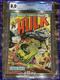 Incredible Hulk #180 CGC 8.0 White Pages 1st Wolverine Cameo Pre #181