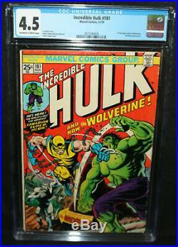 Incredible Hulk #181 1st Full Appearance of Wolverine CGC Grade 4.5 1974