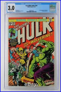 Incredible Hulk #181- CGC 3.0 GD/VG -Marvel 1974- Wendigo 1st App of Wolverine