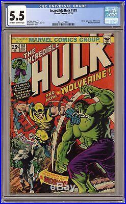 Incredible Hulk #181 CGC 5.5 1974 0333419001 1st app. Wolverine (full non-cameo)
