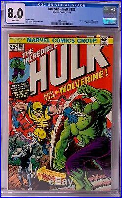 Incredible Hulk #181 CGC 8.0 1st full appearance of Wolverine! KEY ISSUE! L@@K