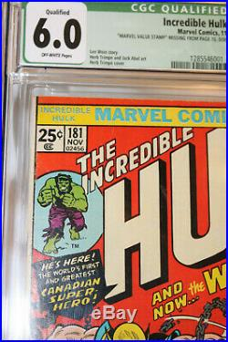 Incredible Hulk #181 Cgc 6.0 (qualified, No Mvs) 1st Full Wolverine