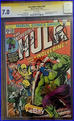 Incredible Hulk #181 Comic Cgc Ss 7.0 Signed Stan Lee & Trimpe Sketch Rare! Look