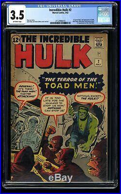 Incredible Hulk (1962) #2 CGC VG- 3.5 Off White 1st Green Hulk