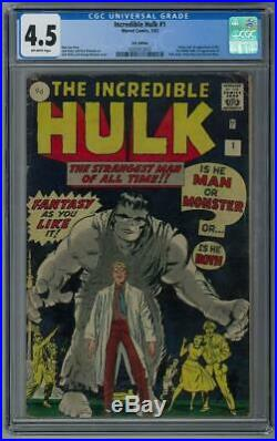 Incredible Hulk #1 CGC 4.5 (OW) U. K. Edition Origin & 1st appearance of the Inc