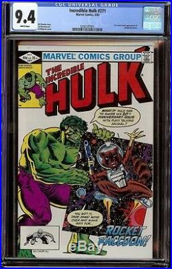 Incredible Hulk # 271 CGC 9.4 White (Marvel, 1982) 1st app Rocket Raccoon