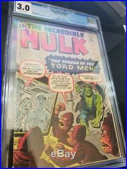 Incredible Hulk #2 CGC 3.0 OW PAGES 2nd Hulk / 1st Green Hulk Not Pressed