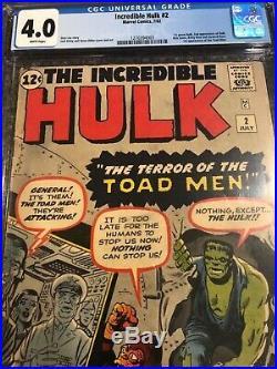 Incredible Hulk 2 CGC 4.0 White Pages! First Green Hulk! Tough Book