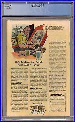 Incredible Hulk #2 CGC 5.5 1962 1282765001 1st app. Green Hulk