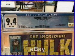 Incredible Hulk #340 9.4 CGC (Todd McFarlane) Marvel Comics Wolverine
