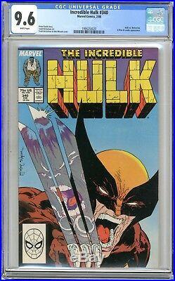Incredible Hulk #340 CGC 9.6 NM+ White pages Hulk vs Wolverine, X-Men App