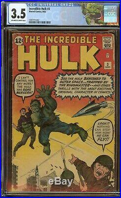 Incredible Hulk #3 CGC 3.5, 1st app. Of Ringmaster and the Circus of Crime 1962