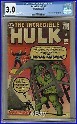 Incredible Hulk #6 CGC 3.0 1963 1996801011