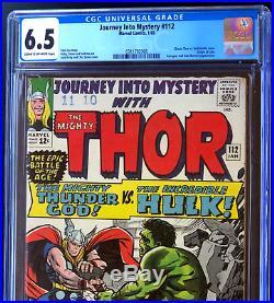 JOURNEY INTO MYSTERY #112 CGC 6.5 THOR vs HULK! Origin of Loki! Kirby 1965