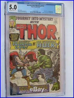 JOURNEY INTO MYSTERY (THOR) # 112 US MARVEL 1965 THOR vs HULK Kirby CGC 5.0 VGFN