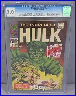 THE INCREDIBLE HULK #102 (Origin Retold) CGC 7.0 FN/VF Marvel Comics 1968