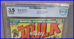 THE INCREDIBLE HULK #180 (Wolverine 1st app) CBCS 3.5 VG- Marvel Comics 1974 cgc