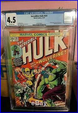 THE INCREDIBLE HULK #181 (Wolverine 1st app) CGC 4.5, Marvel 1974. Free shipping