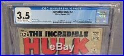 THE INCREDIBLE HULK #2 (Green Hulk 1st app.) CGC 3.5 VG- Marvel Comics 1962 cbcs
