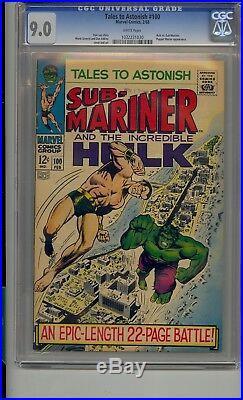 Tales To Astonish #100 Cgc 9.0 Hulk Vs Sub-mariner White Pages
